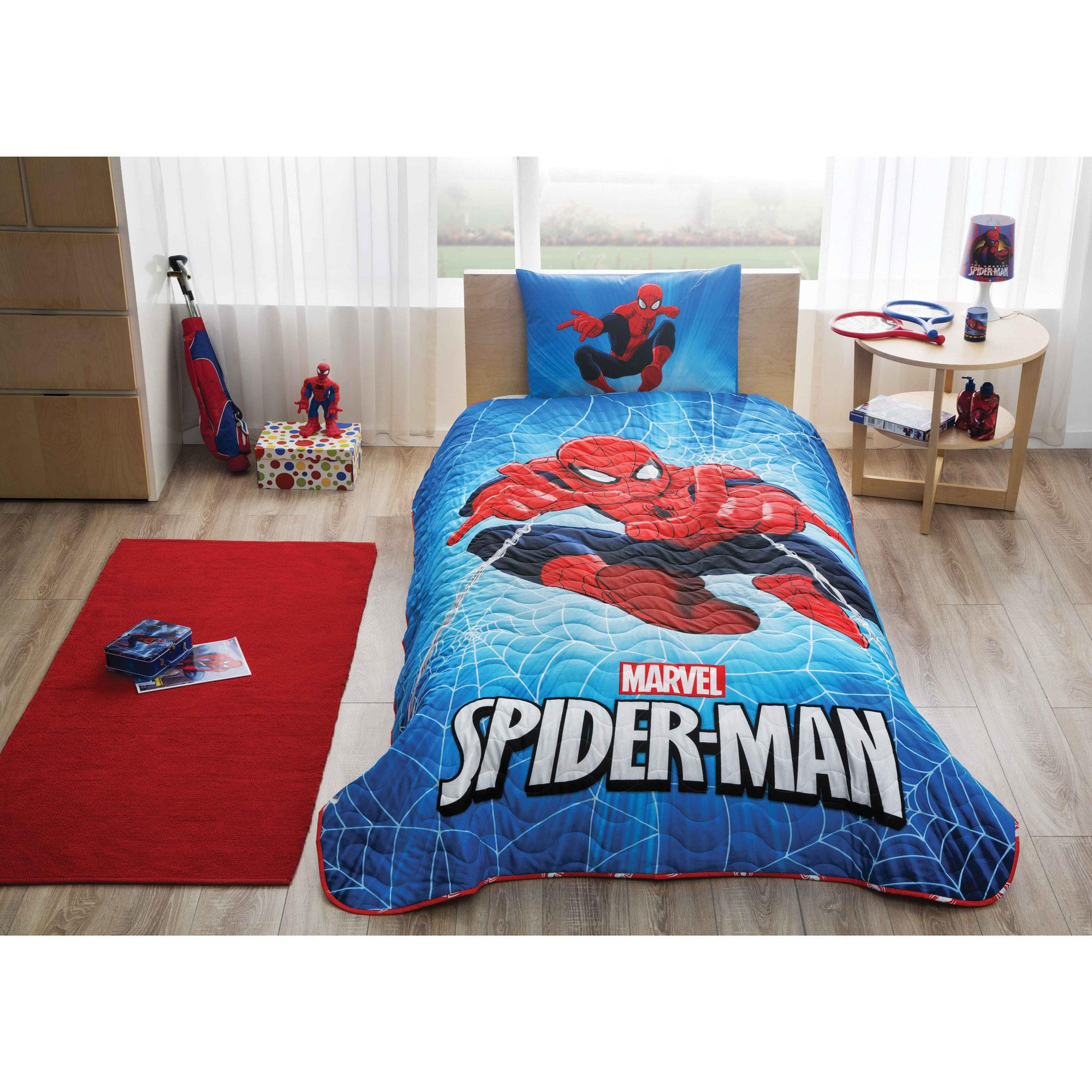. Noname Spiderman Skyscaper Licensed Single Bedspread Set 144TAC9136   Blue  Red White Black